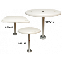 Plastic tables with aluminum pedestal & base