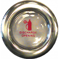Fire extinguisher discharge opening with breakable glass