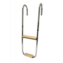 S.S. Bathing ladder 3-steps fixed Mounted mirror support; Teak wooden steps