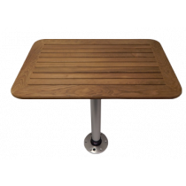 Teak tables with pedestal and base