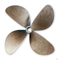 """Radice 4-blads bronzen scheepsschroef type B7, 17""""x16"""", asgat Ø35mm, conus 1:10, rechts"""