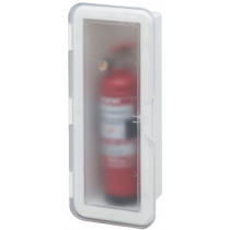 Plastic fire extinguisher holder with transparent lid
