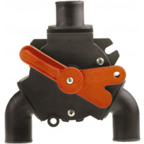 """Johnson Pump Y-Valve for Black water, 3x 1-1/2"""" ( Ø38mm ), 1x 1"""" ( Ø25mm ), with 50mm extension for hub for bulkhead mount"""
